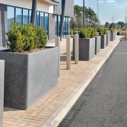 rhinoguard concrete planters with geo bollards