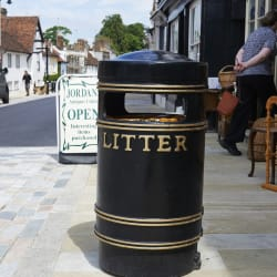 albion round litter bin with twin apperture