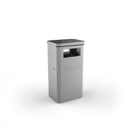 albion square 90l slimline litter bin stainless steel