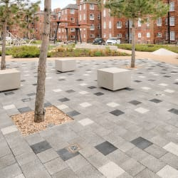 metrolinia modular concrete seating units and modal paving