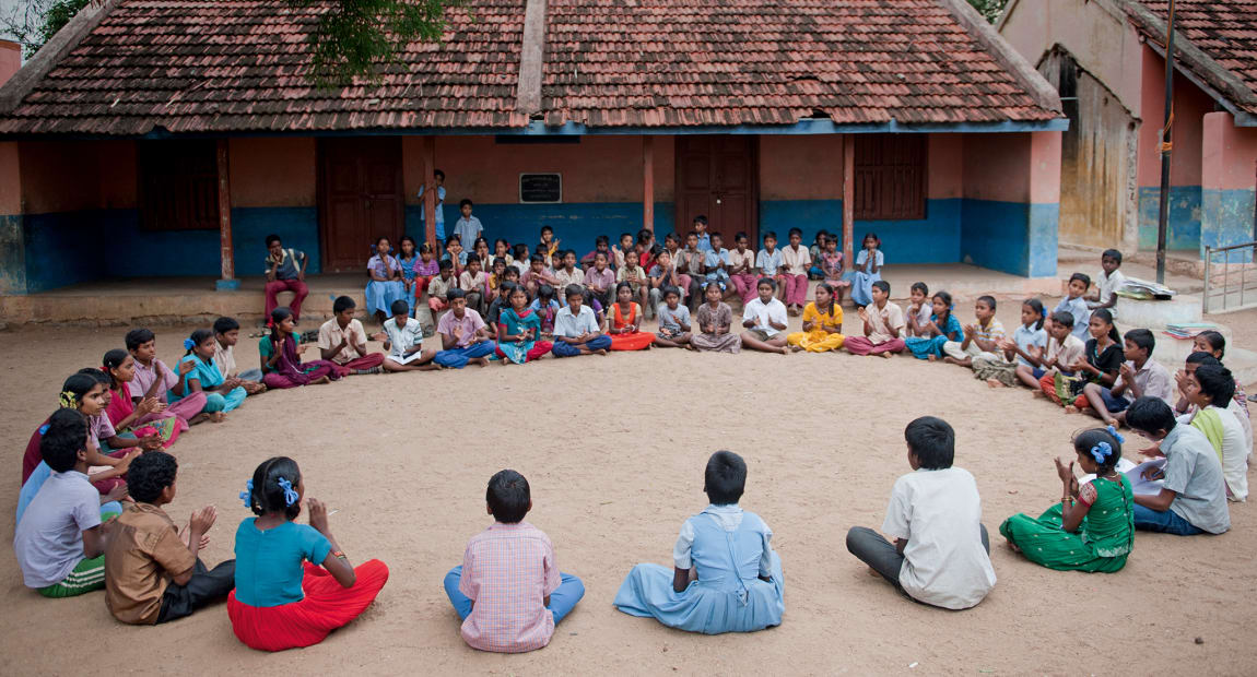 children playing games in a circle