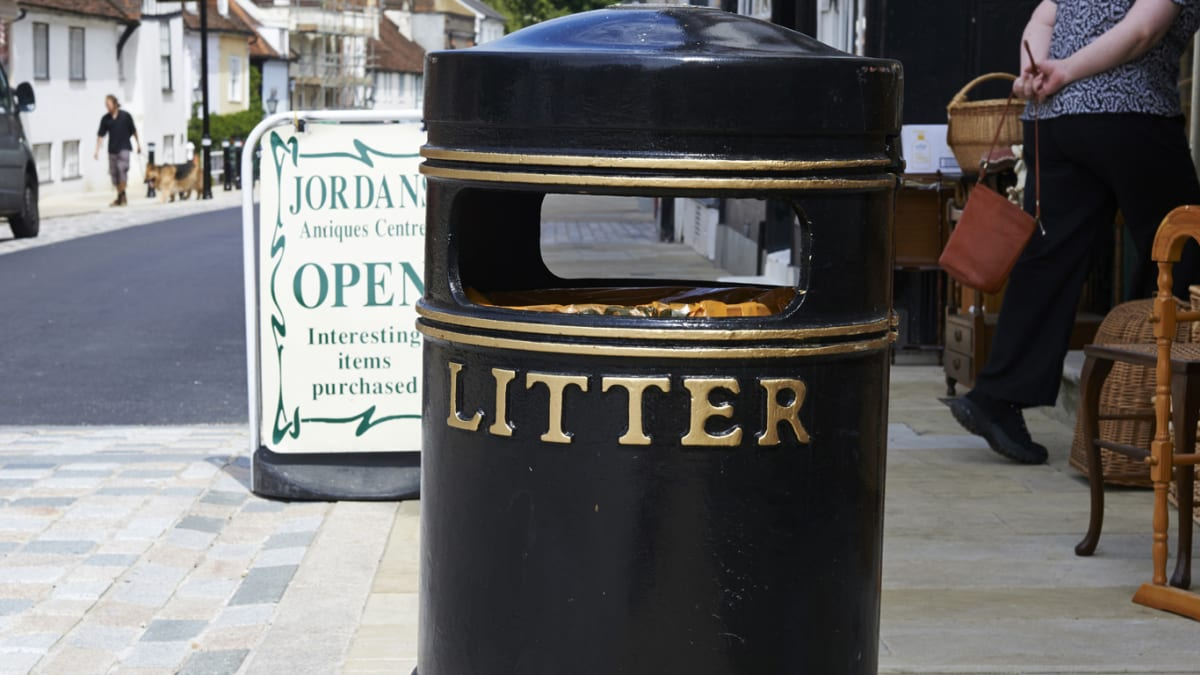 Albion Circular Litter Bin in the street.