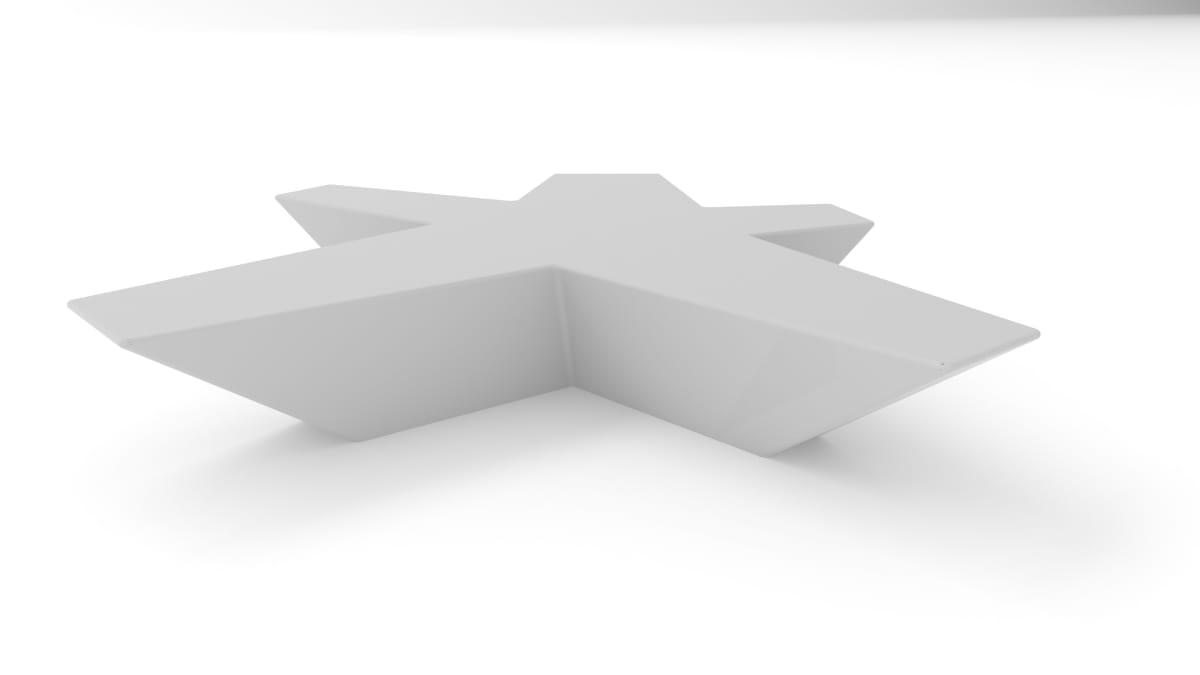 flor bench in white with a white background