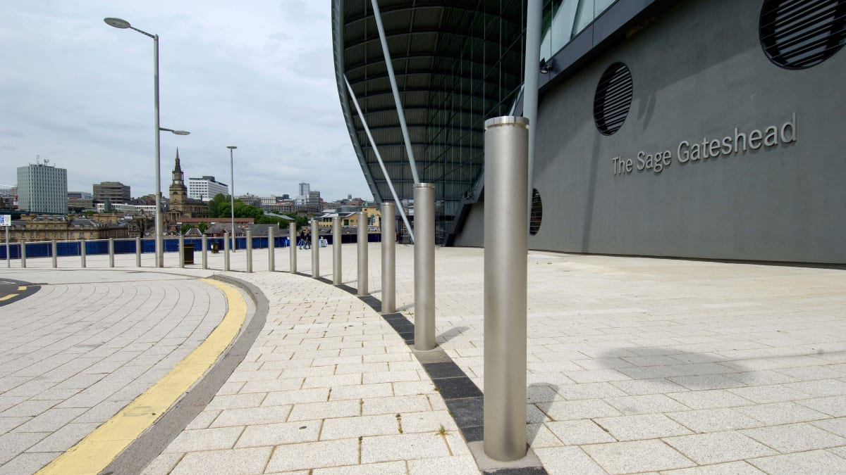 Geo bollards outside an arena