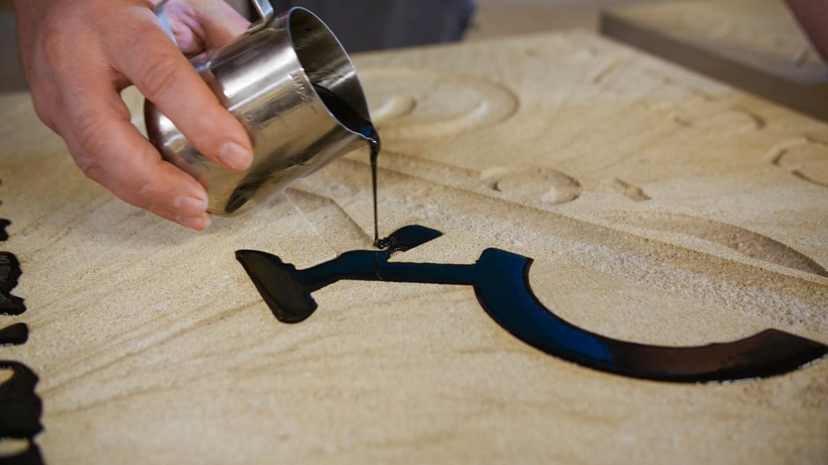 Resin pouring into bespoke natural stone