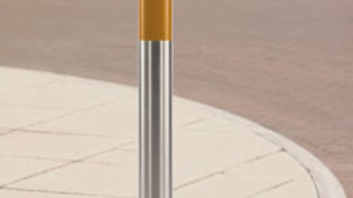 steel bollard with yellow band