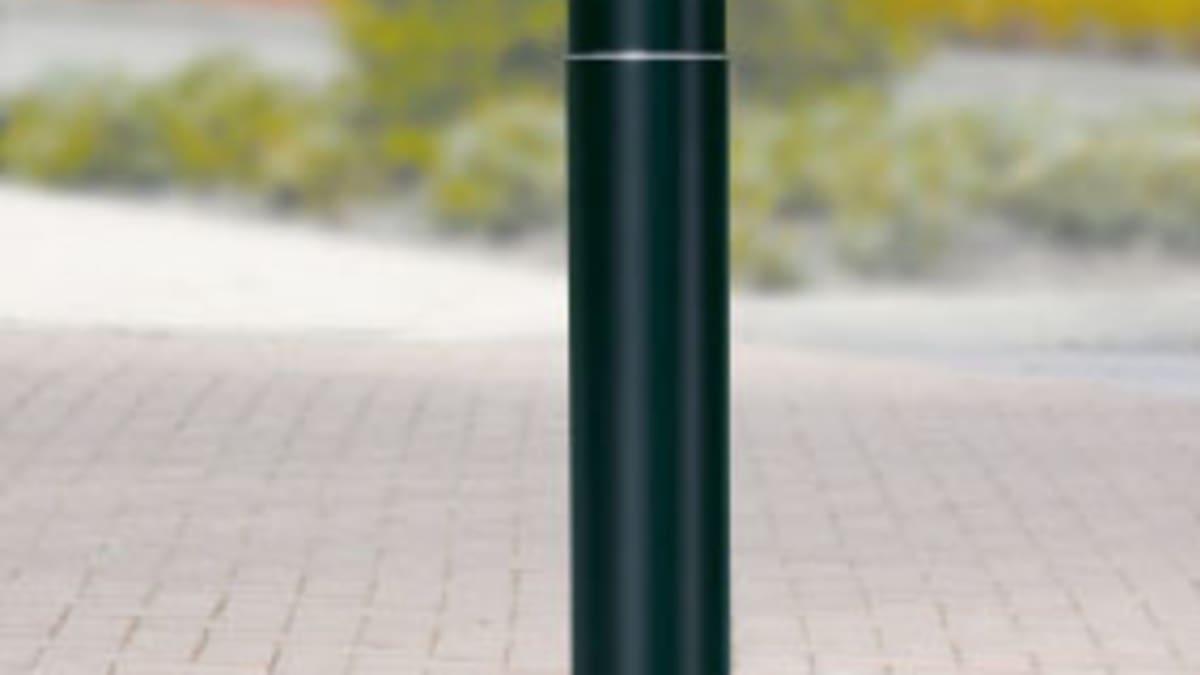 black bollard on pavement