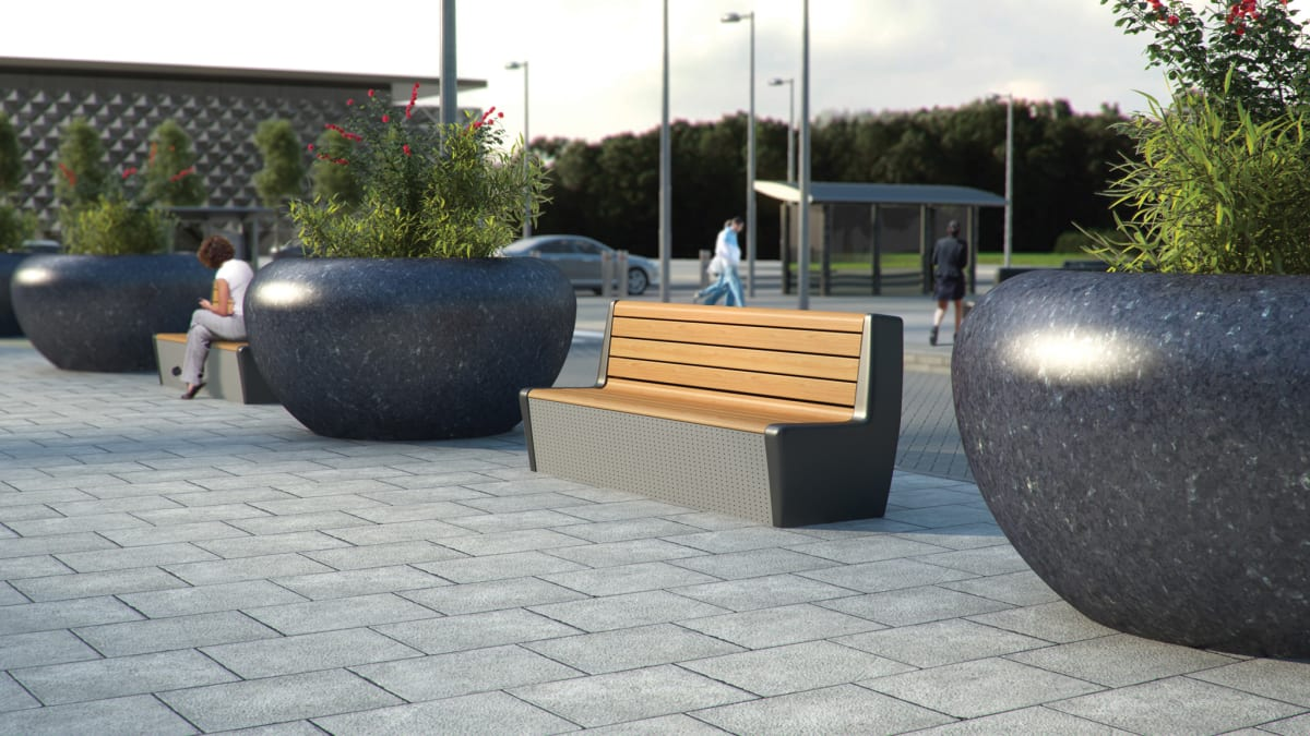 RhinoGuard EOS Protective Seat next to Giove planters.