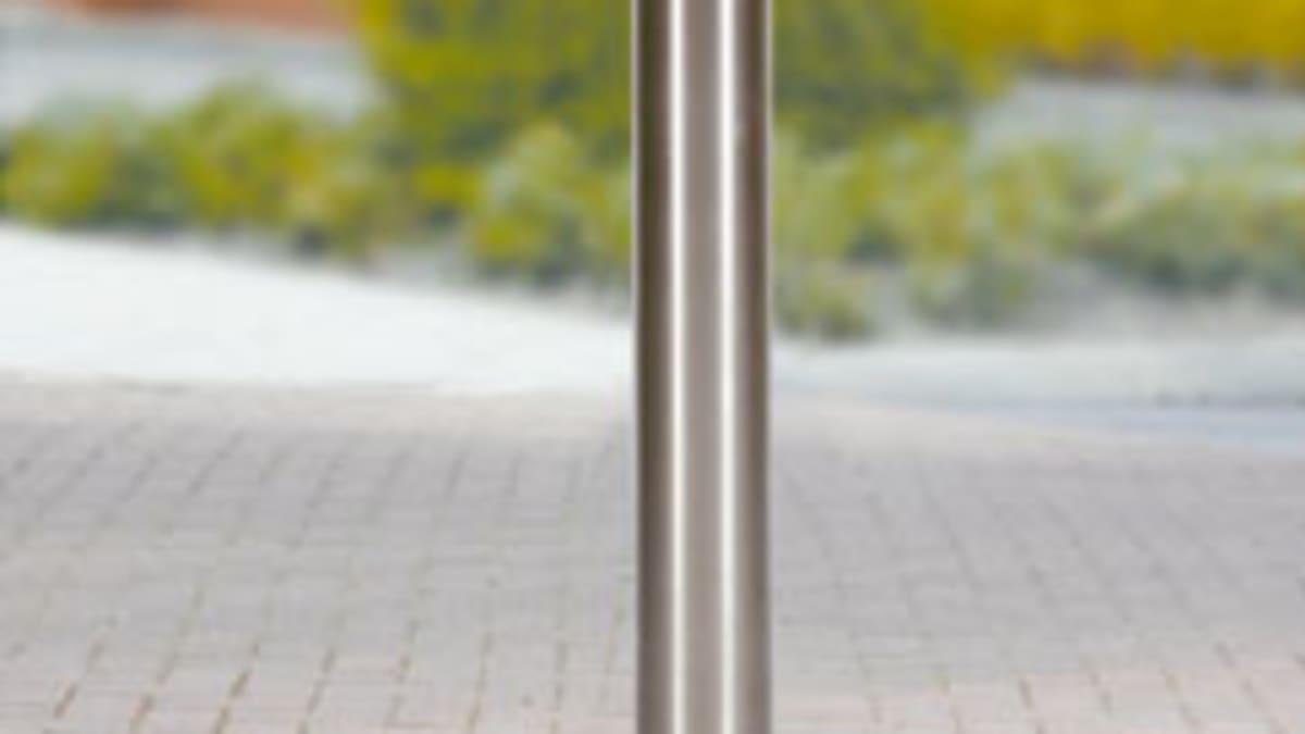 steel bollard in pavement
