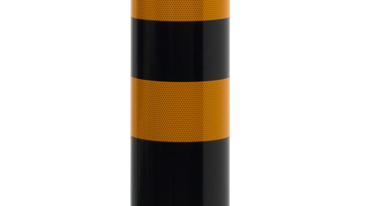 black and yellow bollard