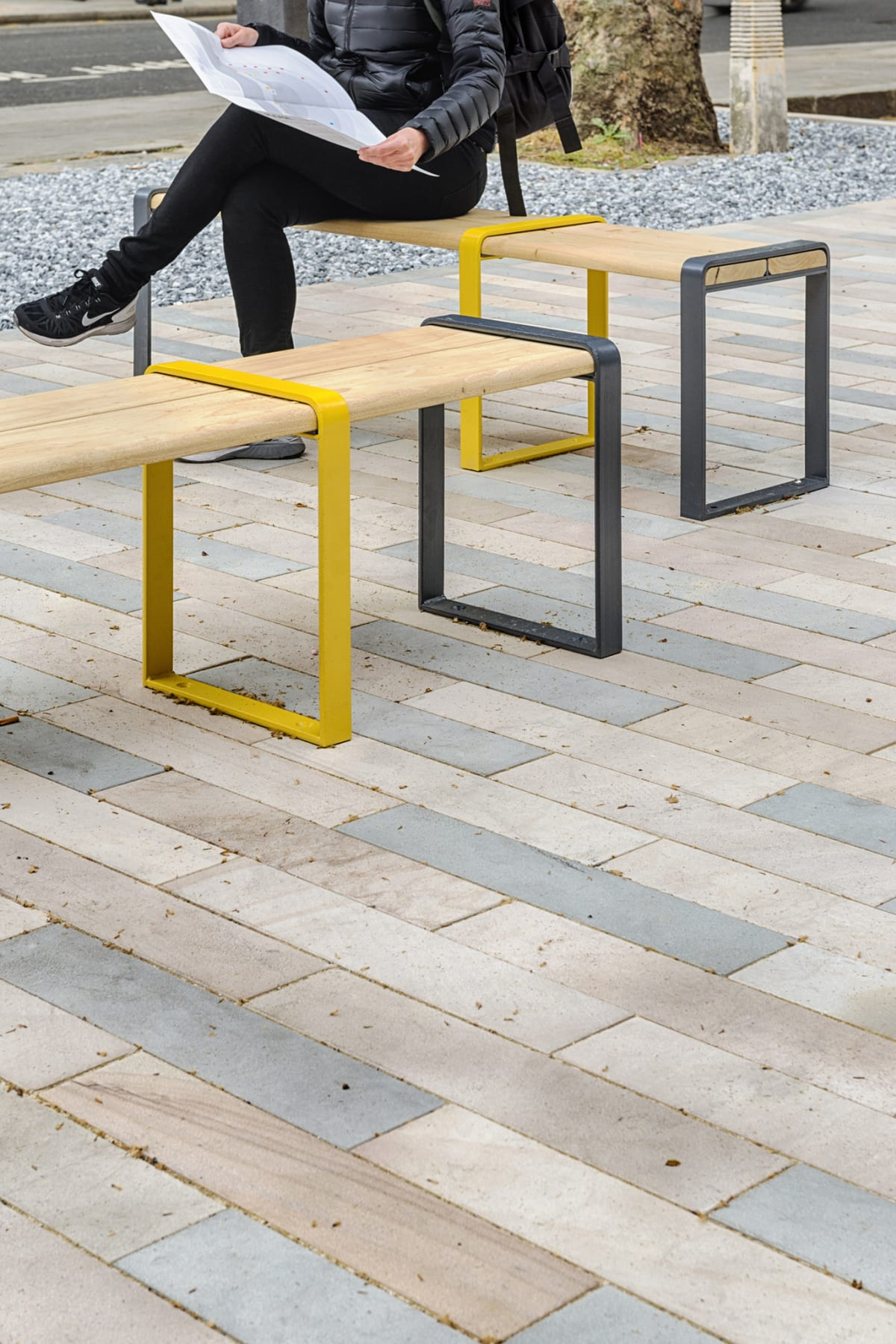 loci benches with stonespar