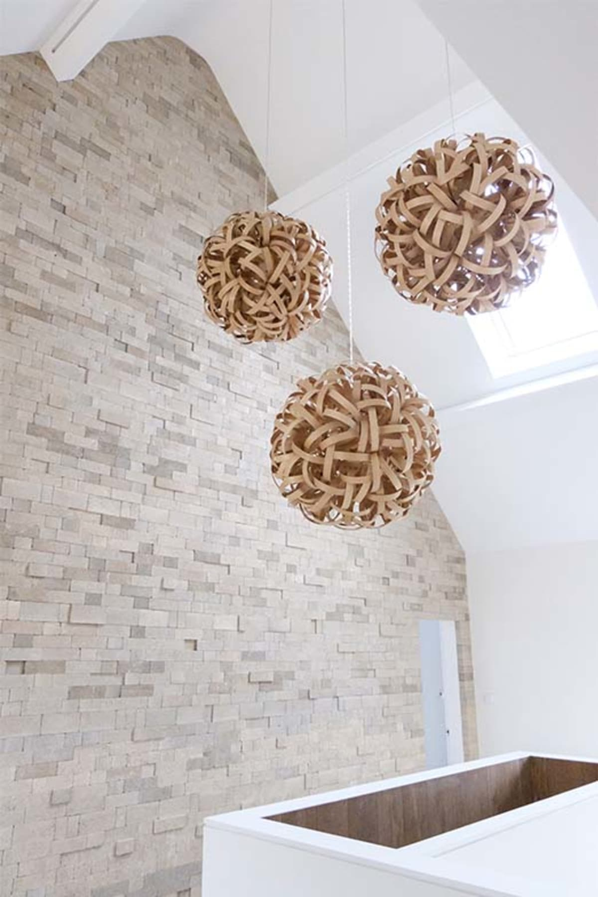 Internal brick wall with hanging lights