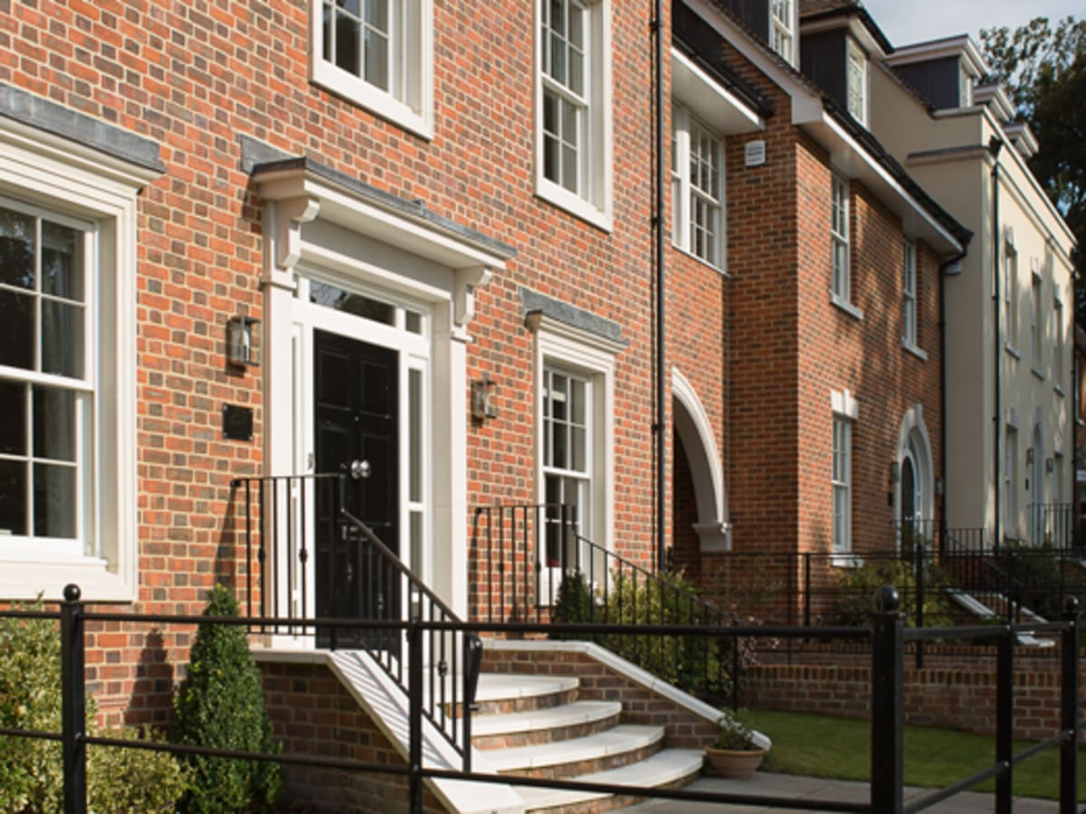 Marshalls cast stone for window surrounds and neo-Georgian porticos