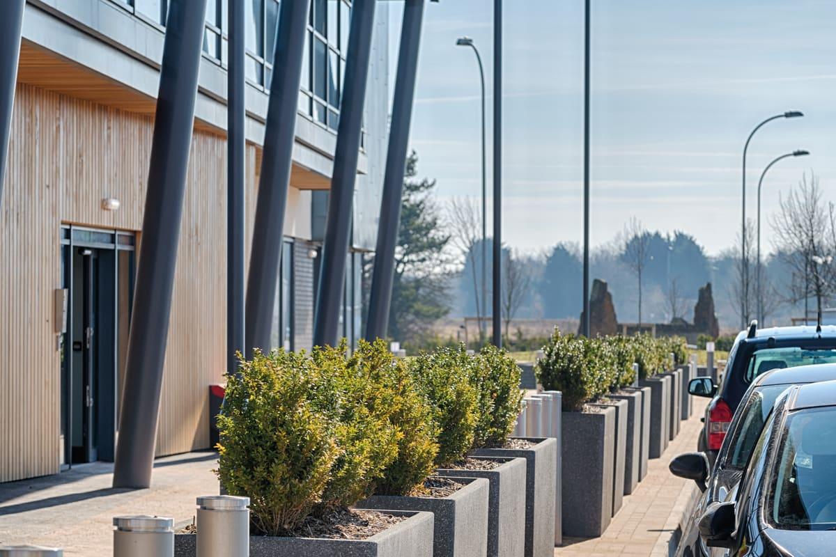 rhinoguard geo bollards and rhinoguard concrete planters