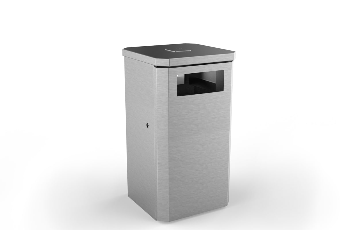 albion square 120l litter bin standard stainless steel