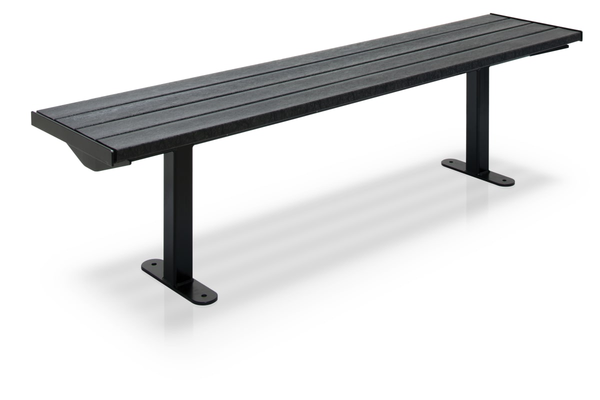 citi element bench - black plastic slats with black steel frame