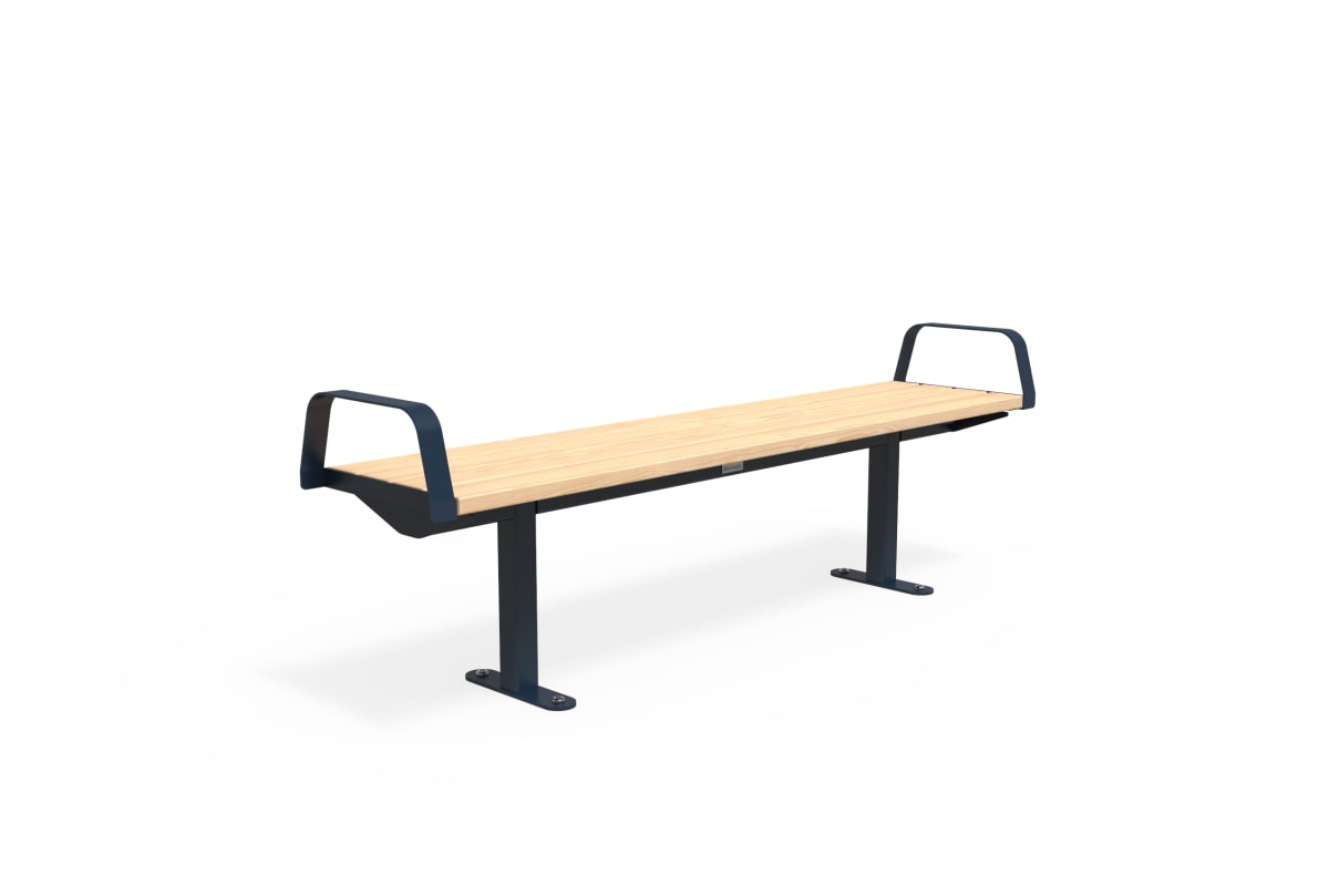 citi element bench - softwood with steel blue end arms