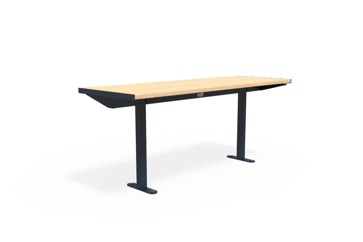 citi element table - softwood with steel blue frame