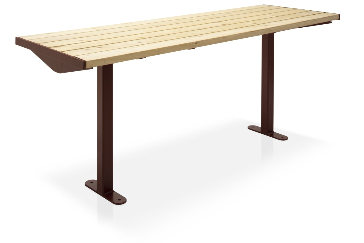 citi element table - softwood slats with corten steel frame