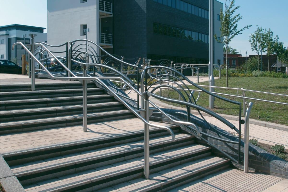 concrete kerb steps - silver grey