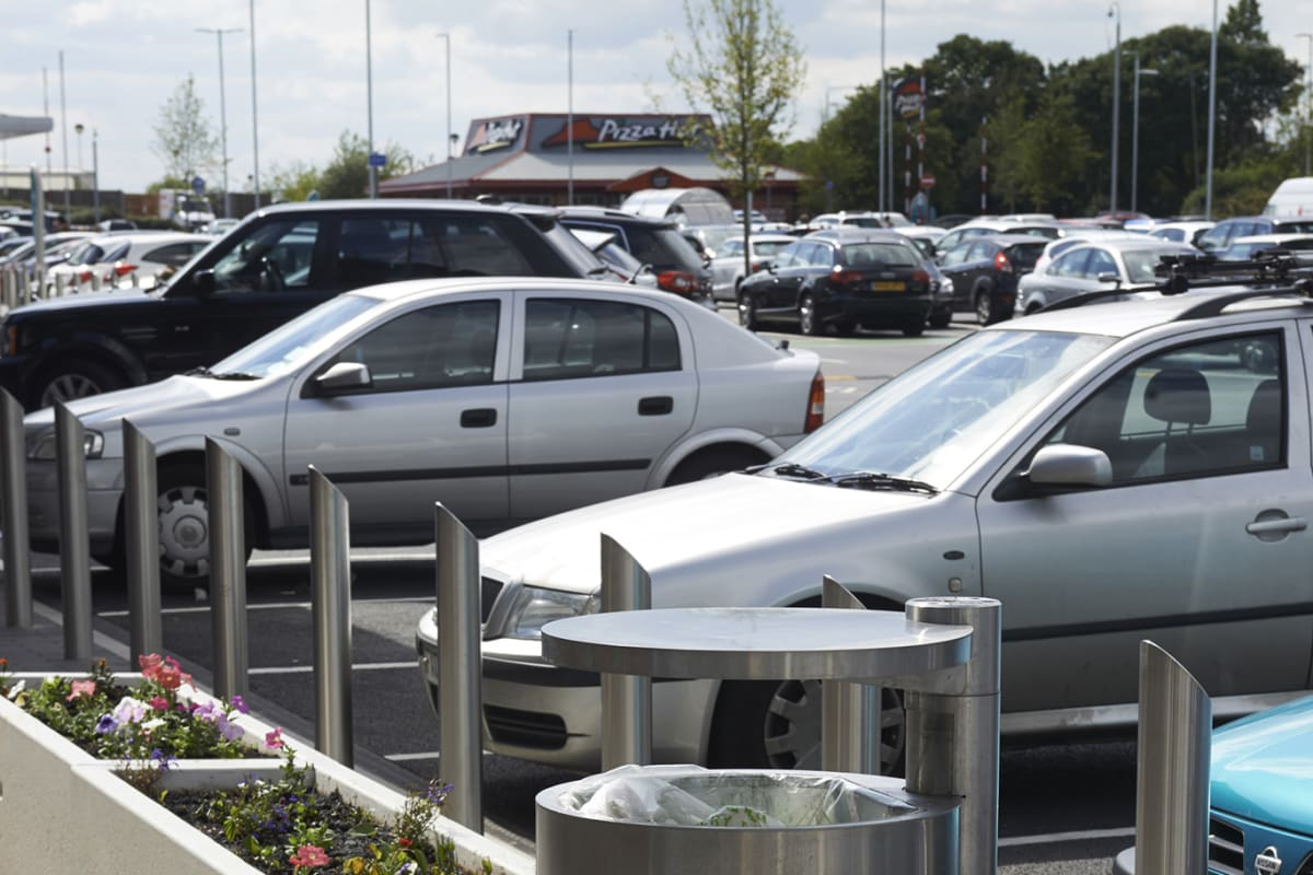 geo litter bin rhino rs004 stainless steel bollards and artemide planters mayflower retail park basildon