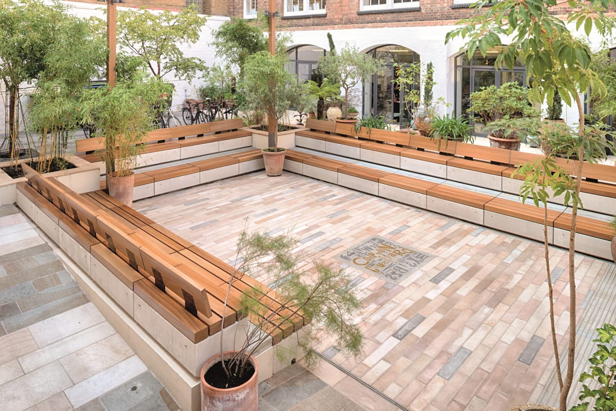 metrolinia seating with stonespar paving - marshalls design space