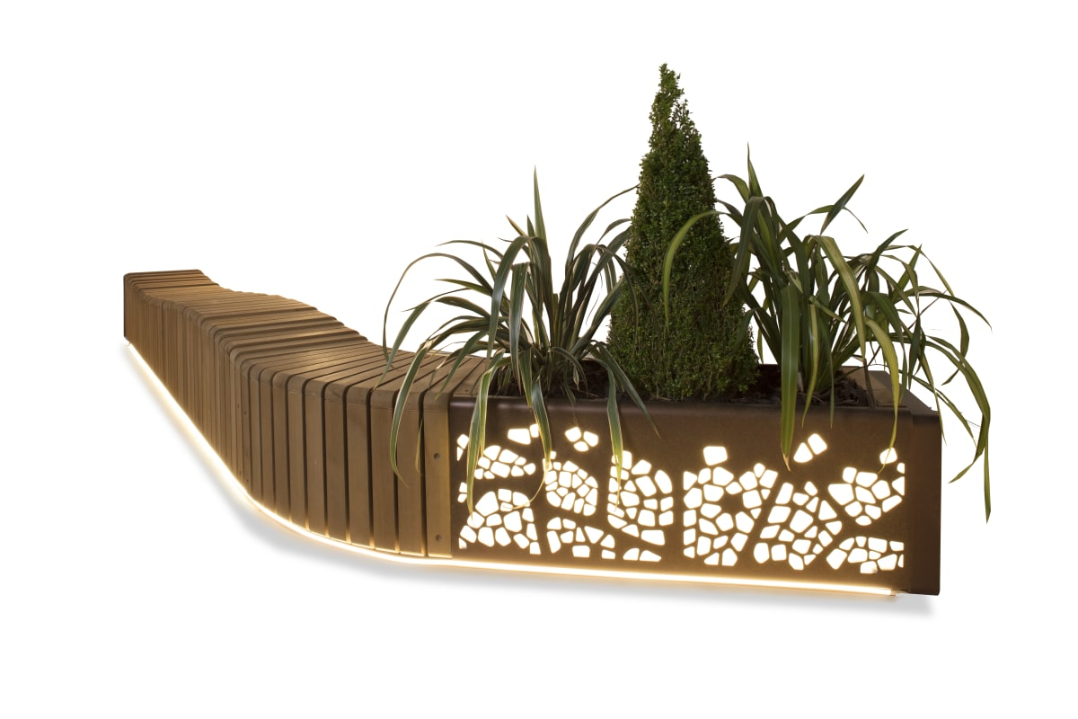 natural elements - wave effect bench configuration & lit led planter