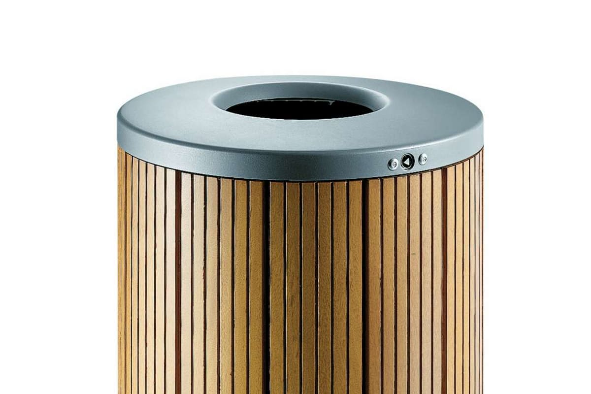 sineu graff classic round timber litter bin