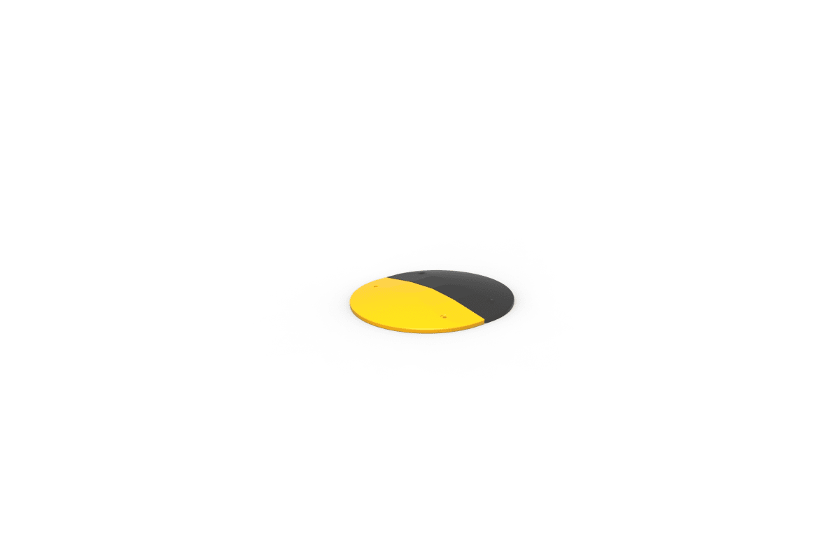 black and yellow rubber speed bump