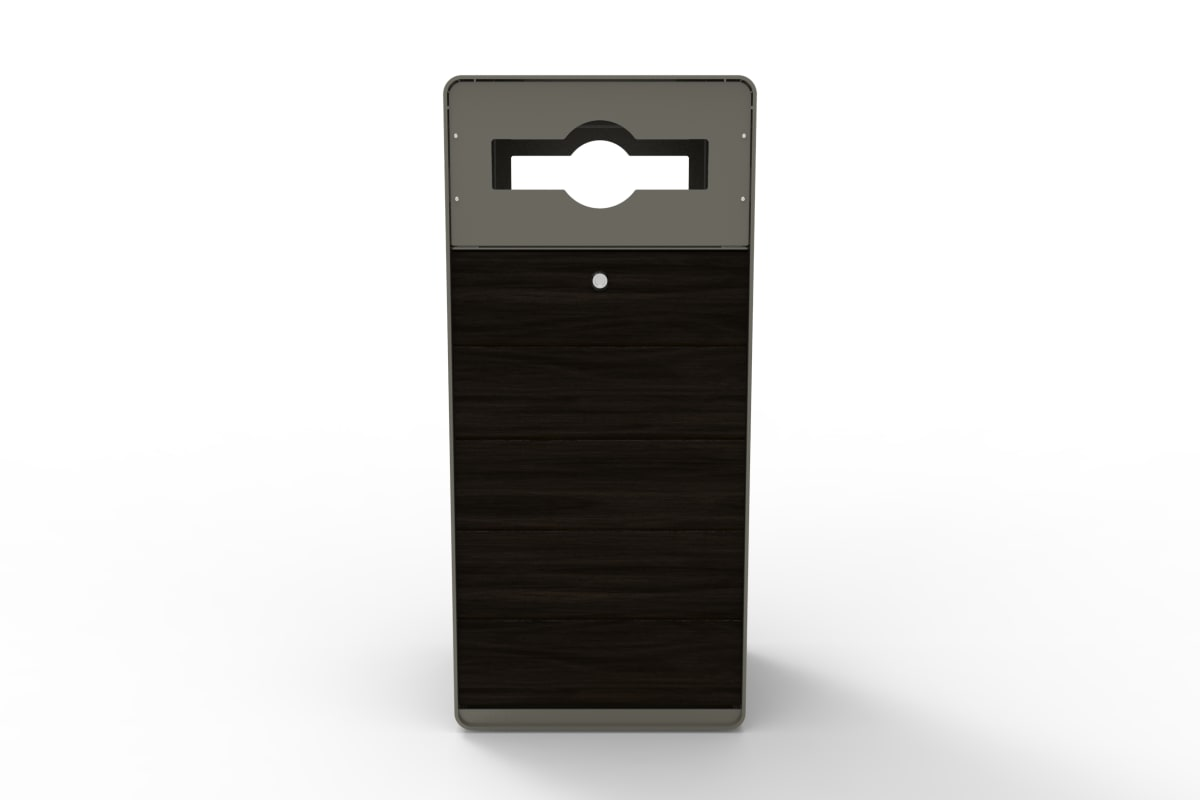 stratic mixed recycle litter bin - front view - onyx and quartz