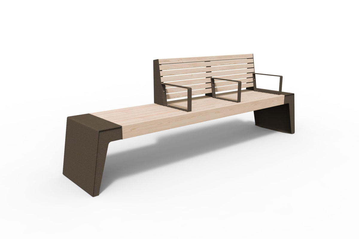 urbain seat with double backrest & arms in bronze
