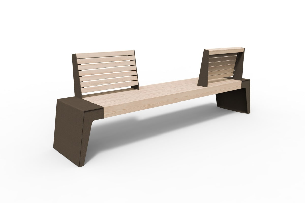 urbain seat with single opposing backrests in bronze