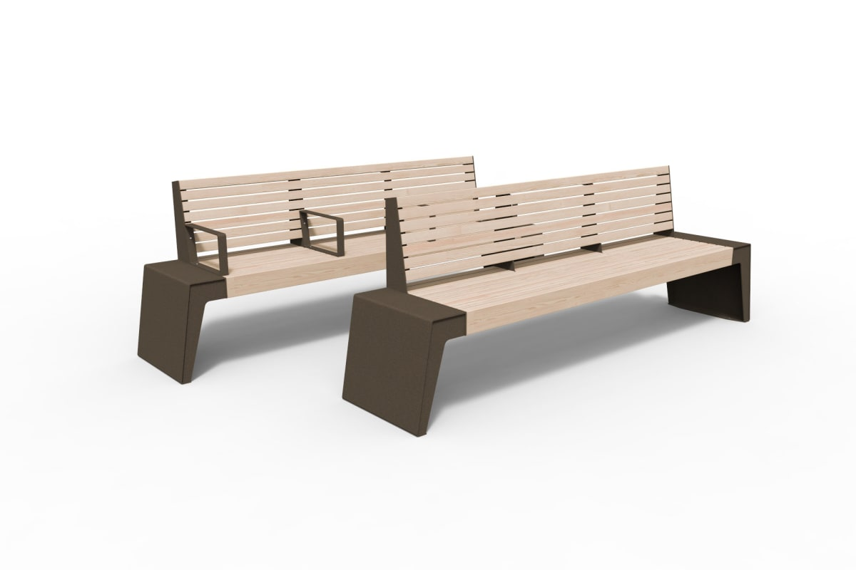 urbain seats with triple backrests in bronze