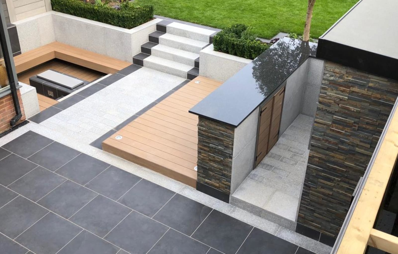 Symphony paving in Blue and Granite Eclipse in Light