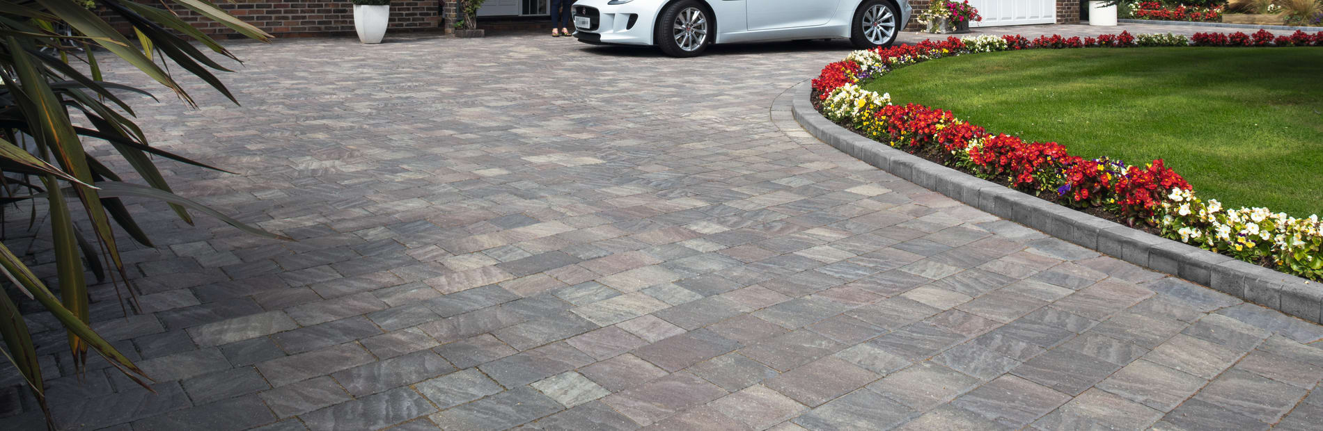 marshalls drivesett natrale driveway paving in slate colour.