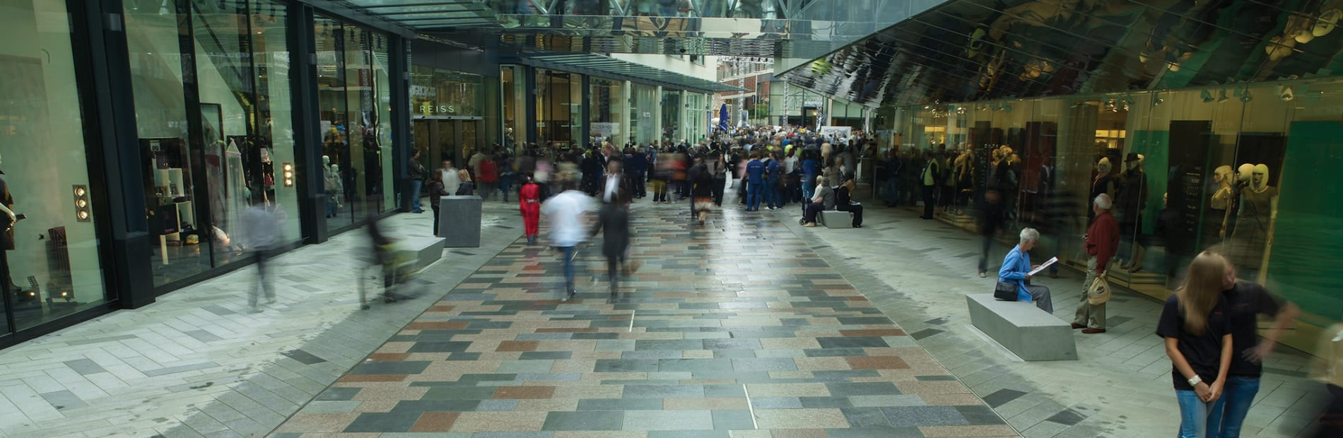 Granite paving in retail shopping centre.