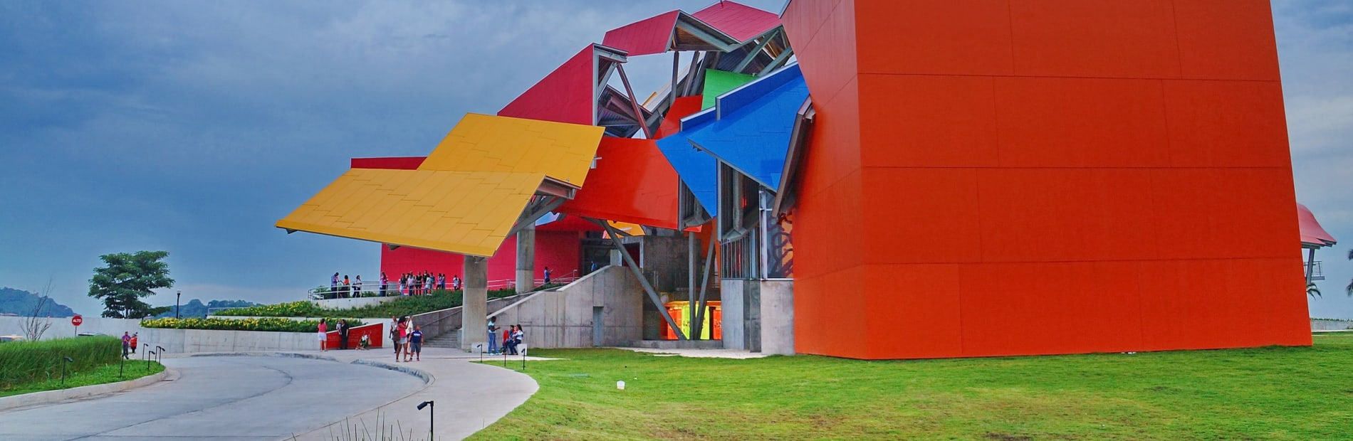 A multi-coloured building designed and built in an abstract origami shape