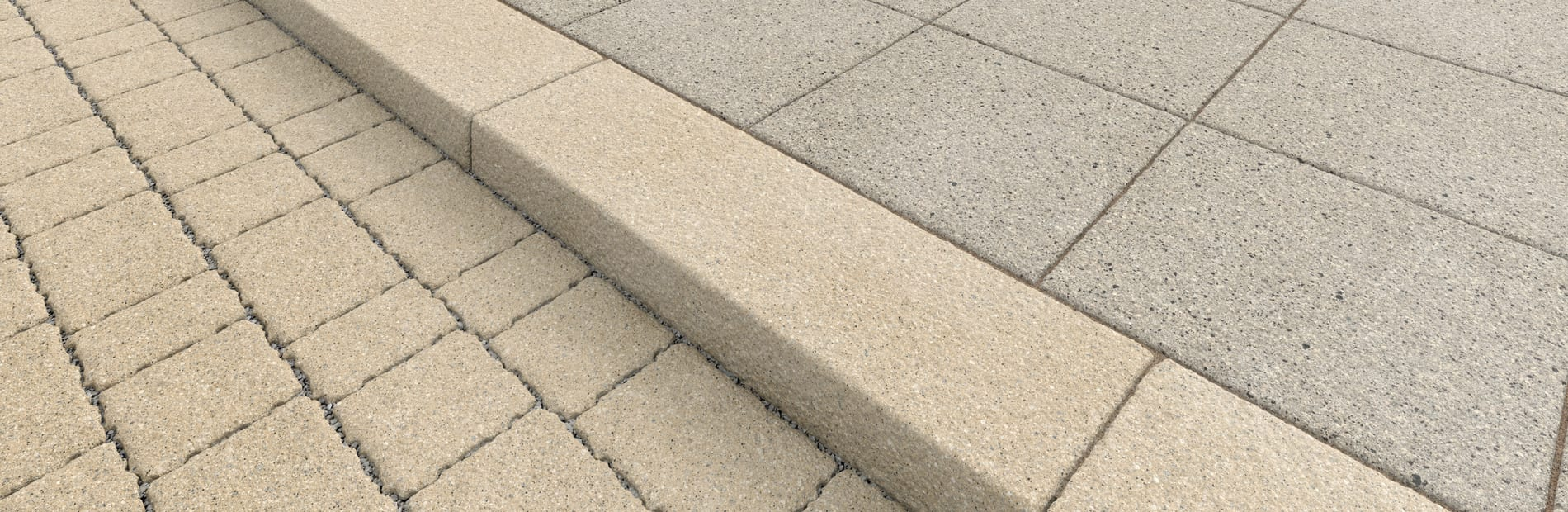 conservation x kerb in cream conservation x priora block in cream and conservation x paving in silver grey textured