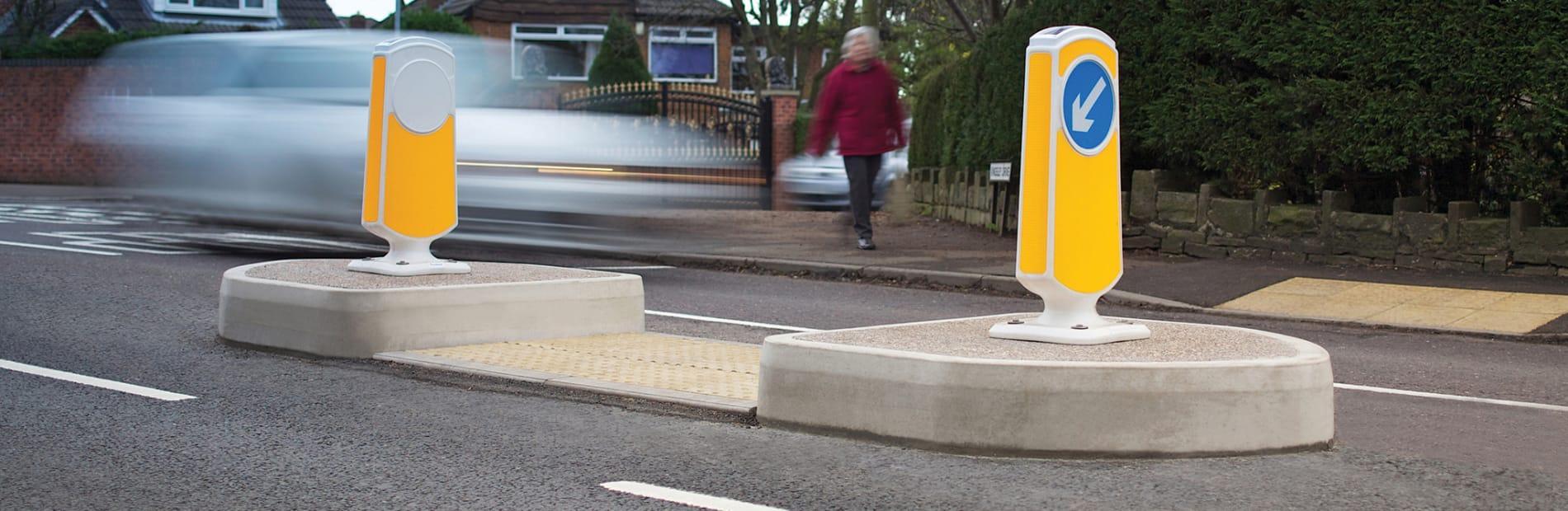 traffic island with pedestrian crossing