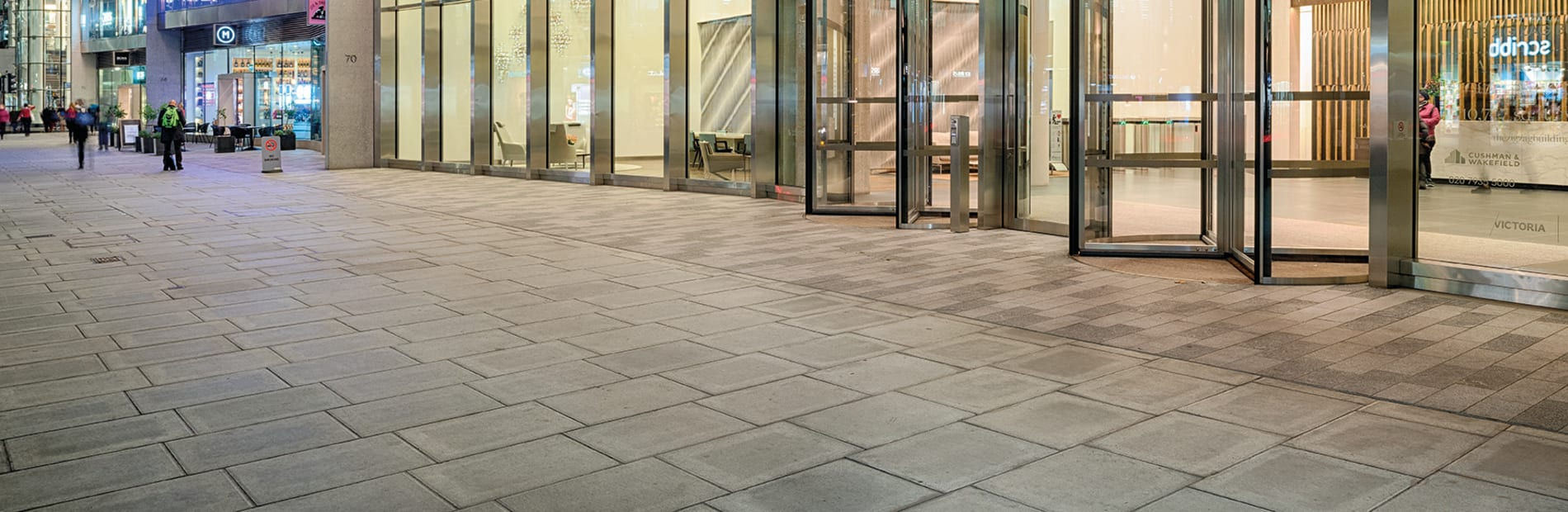 despina granite paving laid outside a building