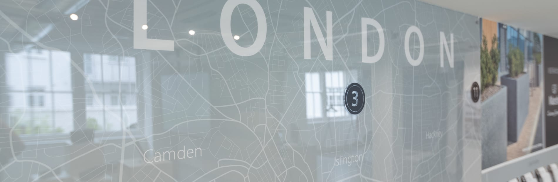 Map of London on the wall of the Design Space