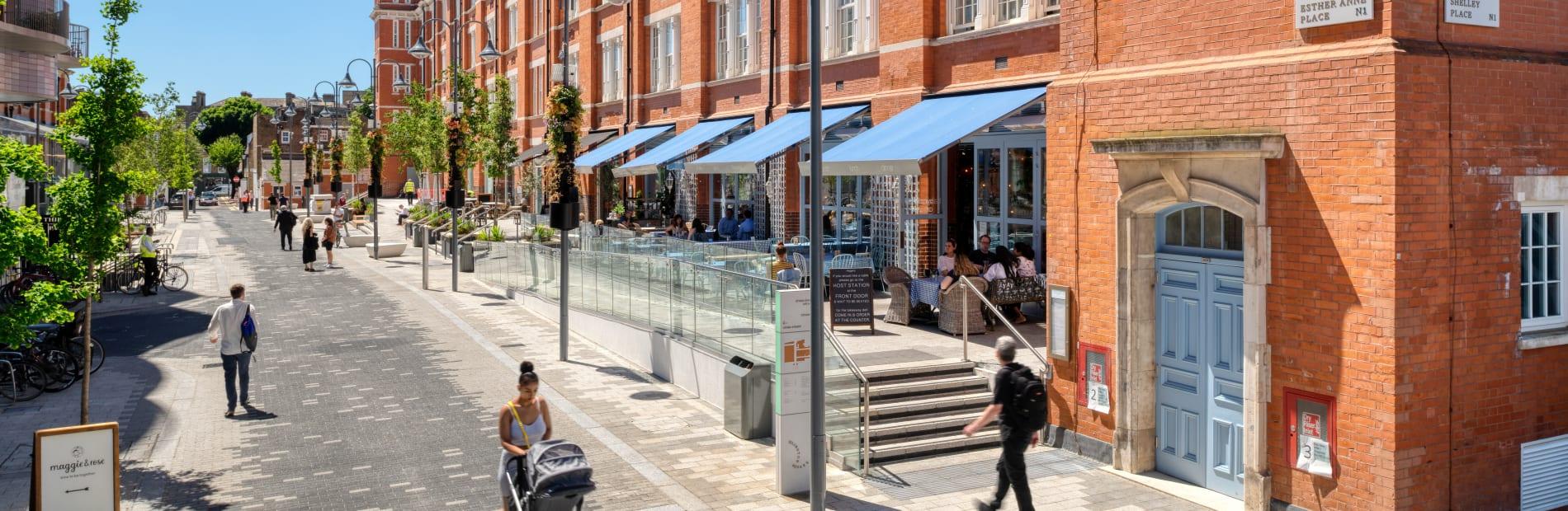 Modal paving laid in Islington Square