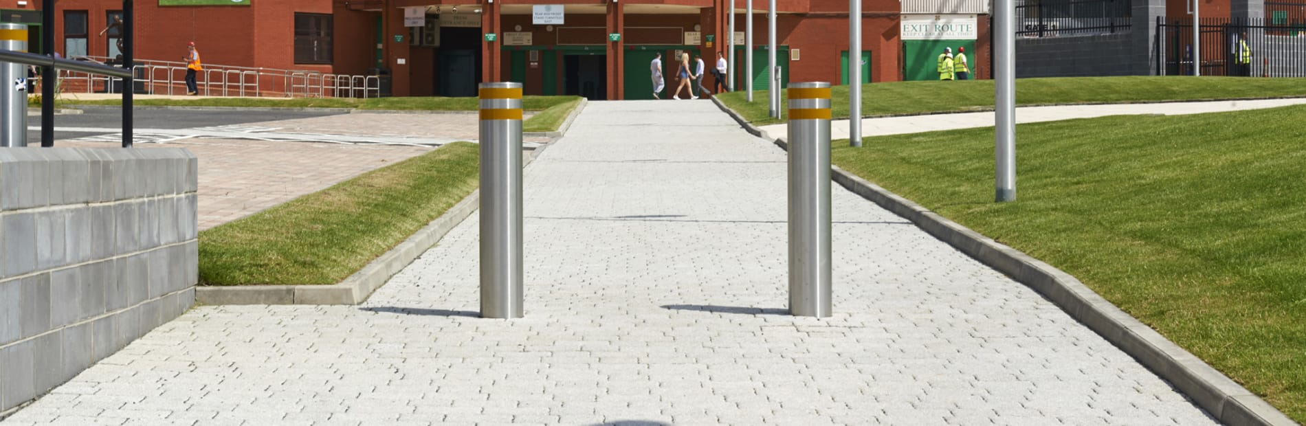 rhinoguard bollards outside a stadium
