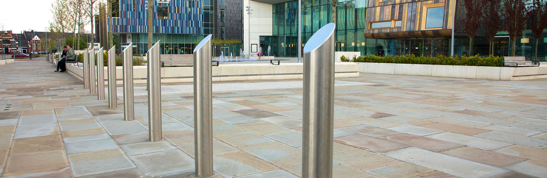stainless steel bollards outside a university