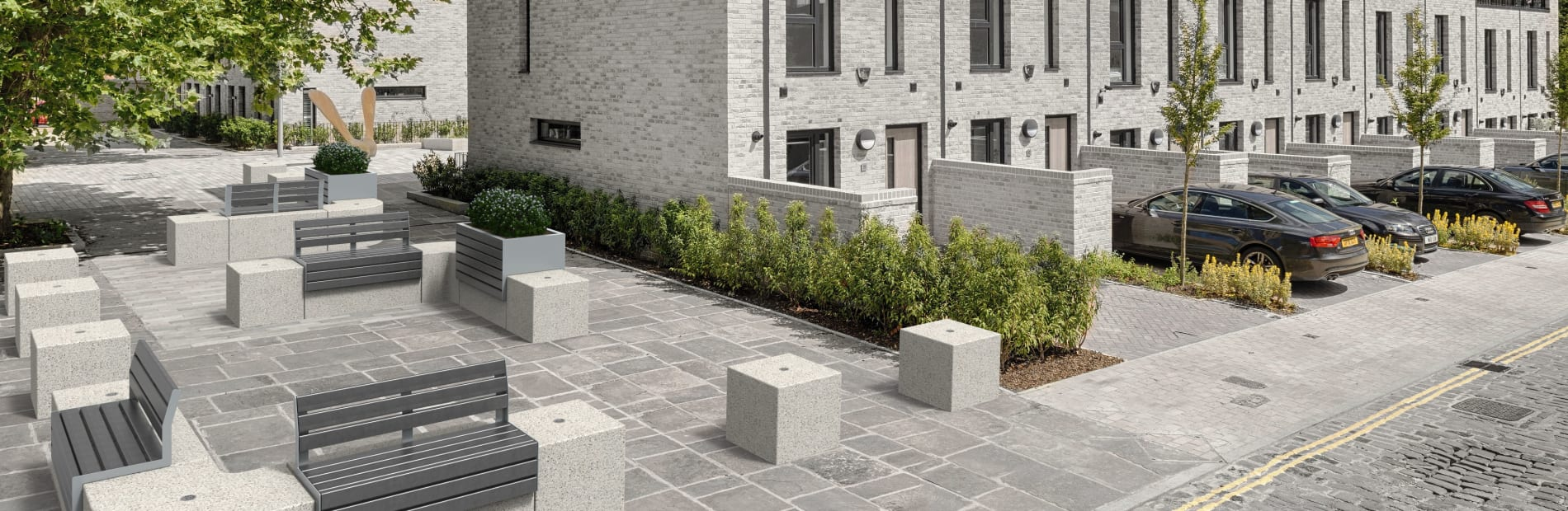 Contemporary collection of seating and planters
