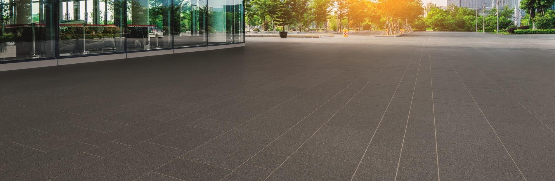 black granite paving outside a building