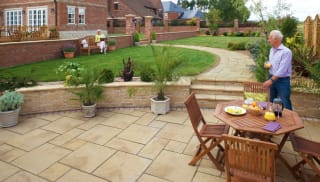 Marshalls Heritage garden paving in Weathered Yorkstone.