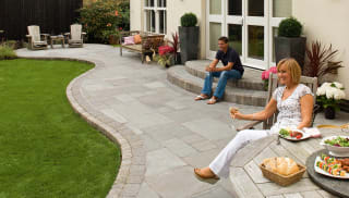 Marshalls Riven Harena paving in silver birch multi.