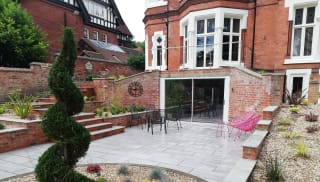 Sloped garden and driveway design ideas