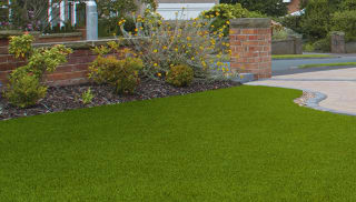 artificial grass used on a driveway